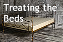 Text 'Treating the Beds,' with a bed with no sheets in the background