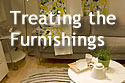 Text 'Treating the Furnishings,' with living room furniture in the background